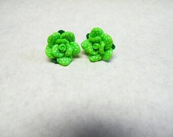 Green White Rose Flower Earrings Post