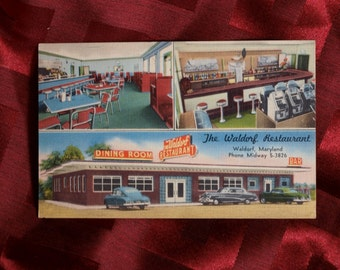 Postcard Waldorf Restaurant and Bar Diner #84435 Travel Food Auto Vintage Linen Car Tourist Dining Room Slot Machines Art Color Advertising