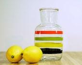 Vintage Anchor Hocking Glass Colorful Striped Juice Pitcher / Decanter / Carafe
