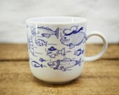 SCHIFFER CUP FISH - porcelain coffee mug, tea cup by Ahoi Marie - nautical cup - maritime style - blue and white - navy blue