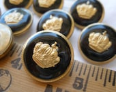 "Gold Crown Shank Buttons 9 size 30L (3/4"" 19MM) hollow metal black enamel look jacket blazer boho fashion military juicy couture steampunk"