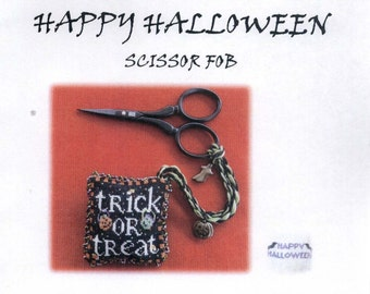 Blackberry Lane Designs: Trick or Treat Happy Halloween Scissor Fob - Cross Stitch Pattern with Embellishments