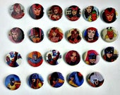 Buy 5 Get 1 FREE--Comic Pin Back Buttons Featuring Scarlet Witch Vision Hellcat Magneto Pixie