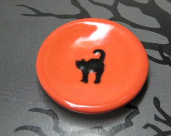 Halloween black cat miniature dollhouse plate orange & black 25mm ceramic 1:12 scale one inch or playscale 1/6