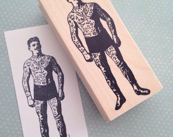 Dude with Tattoos Wood Mounted Rubber Stamp 5543