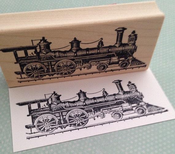 Train Engine Rubber Stamp 638