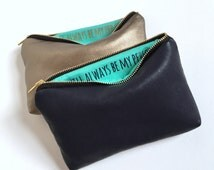 Two Gold Leather Makeup Bags w. Custom Messages // Personalized Bridesmaid Gifts