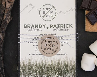 Wedding Invitation Camping Rustic Tree Mountain Fog Country Suite Card Save the Date Menu