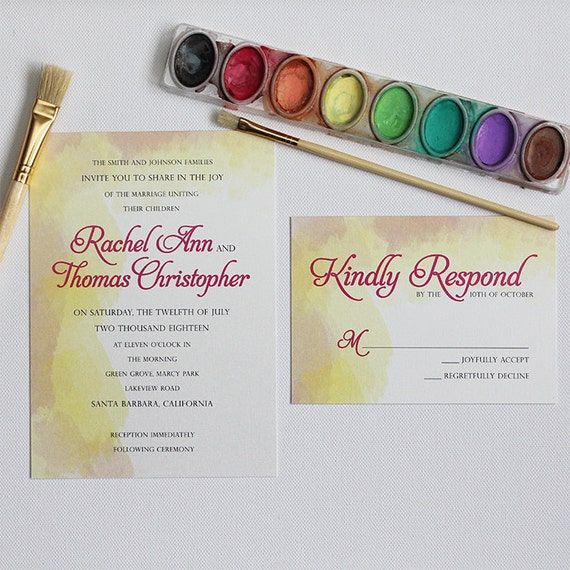 Watercolour Style Wedding Invitation set Soft Invite Card RSVP Suite Colour