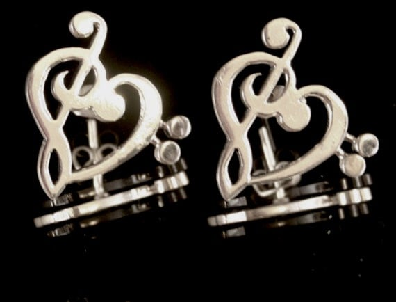Silver Earrings Music Love Post great gift for musician songwriter band choir Valentines jewelry for her treble bass relationship get fast
