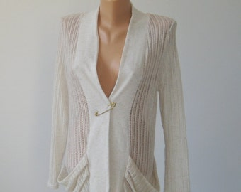Vintage Lightweight Cardigan, Avant garde Coat, Oatmeal Linen blend Women Jacket, Machine Knit Vest, Lace Sweater Wrap, Size M 8  US 10 UK