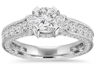 1.58CT Vintage Diamond Engagement Ring 14K White Gold