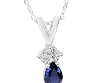 Diamond & Oval Blue Sapphire Round Solitaire Pendant 14K White Gold