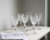 Six Vintage Crystal Sherry/ Port/ Aperitif Glasses.