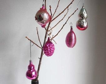 Vintage Christmas Tree Decorations/ Mercury Glass Ornaments. SET 34