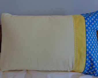 Light Yellow and Blue - Standard Pillowcase Pair