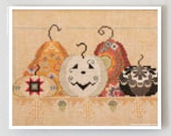 Playing With Jax : Cross-Eyed Cricket cross stitch pattern October Halloween Autumn harvest pumpkins jack-o-lanterns hand embroidery