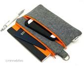 Men's Small Orange Portfolio - Passport Organizer Case - Guys Pencil Pouch - Gray Linen Zip Pouch - Travel Document Tote - Passport Storage