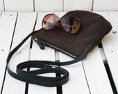 Leather bag, Suede Purse, leather crossbody bag, brown mini Clutch, festival bag, bohemian pack, unique gift for women, present for wife