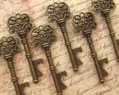 """Skeleton Key BOTTLE OPENERS – Set of 75 – Antique Bronze – 3"""" Long (76mm) –Vintage Style - Create Your Own Wedding Favors! Ships from USA."""