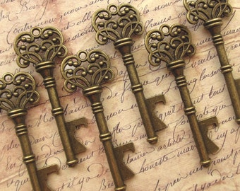 "Skeleton Key BOTTLE OPENERS – Set of 75 – Antique Bronze – 3"" Long (76mm) –Vintage Style - Create Your Own Wedding Favors! Ships from USA."