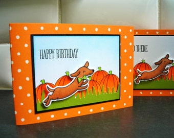 Autumn Birthday Card for Dog Lover, Dachshund Card, Doxie Greeting Card