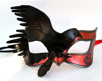 Red Leather Raven Mask