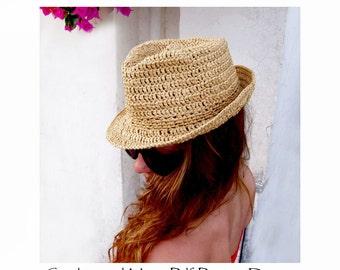 Raffia Hat - Fedora- or Stetson-Style Sun-Hat- Crochet Pattern - Instant Download