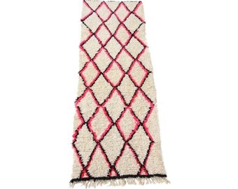 Large Vintage Moroccan Beni Ourain Pink and Black Diamond Runner
