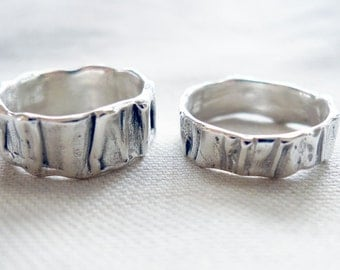 Men's Wedding Band Set - Matching Wedding Bands- Sterling Silver Contemporary Rings - Custom Made in Your Size - His Hers - His His
