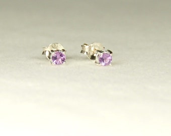 Amethyst Earrings, Purple Sparkle, Sterling Silver, February Birthstone, Purple Amethyst, Tiny Amethyst Stud, Amethyst Posts