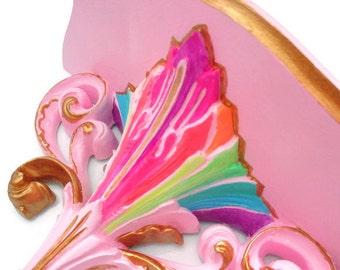 Painted Wall Shelf - Neon rainbow and pastel pink - Baroque Home Decor - candy colored