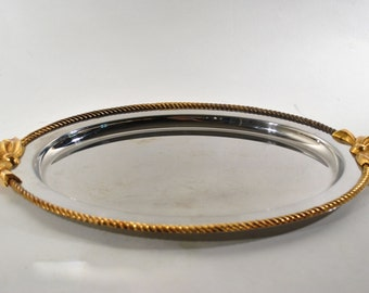 Vintage Oneida Large Serving Tray Gold Ribbons Stainless Steel