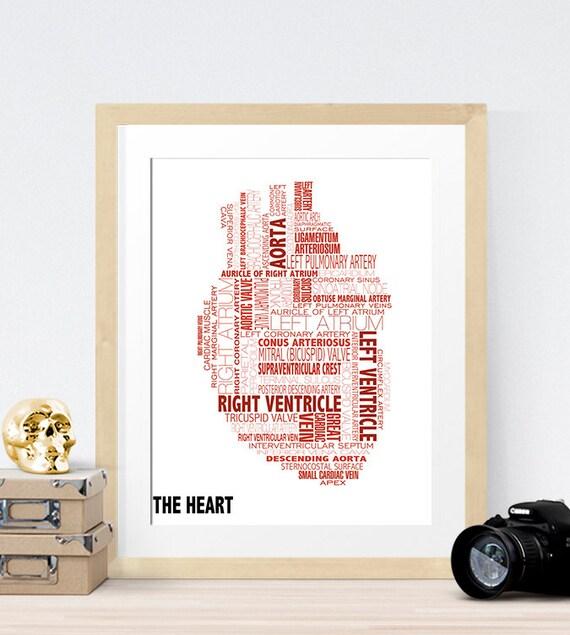 Anatomical Heart Typography Art Decor Print