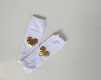 White Leg Warmers, Gold Heart Leg Warmers