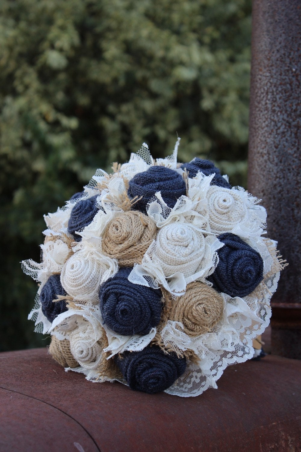 Navy Burlap And Lace Bridal Bouquet Rustic Wedding
