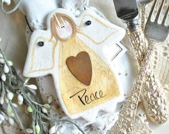 Peace Angel Salt Dough Christmas Ornament / Kitchen Decor