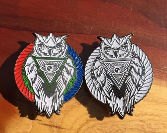 All seeing owl pins 2 pack