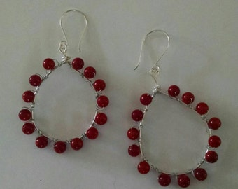 Coral Hoop Earrings