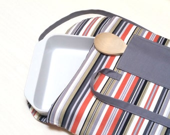 Casserole Carrier Insulated Gray and Orange Stripe--Ready to Ship