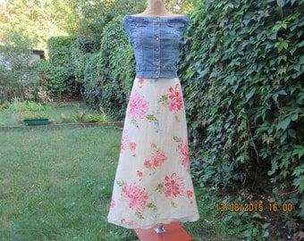 Long Silk Skirt / Skirt Vintage / Size EUR44 / UK16 / / Silk Skirt / Floral Pattern