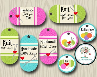 Knit Gift Tags, Craft Tags, Gift Tags, Knitting, Handmade By, Handmade Labels, Made By, Knitted Gift Tags, Yarn Tags, Labels, Knit