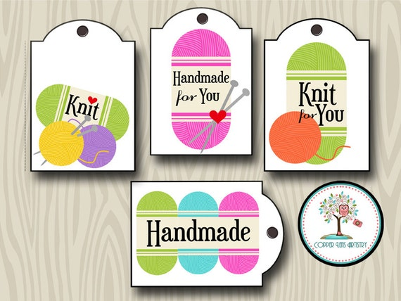 Knitting Gift Tags : Items similar to knit for you tags gift craft