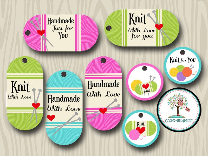Knit gift tags craft tags gift tags knitting handmade by for Custom tags for crafts