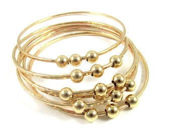 3 Gold Hammered Bangles, Gold or Silver Beads, Elegant Holiday Fashion, Textured Bracelet,  Gift Idea, Handmade Jewelry, Boho