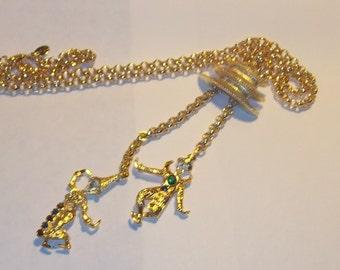 Vintage Kenneth Lane KJL Rhinestone Asian Siam Dancer LONG Gold Tone Sautoir Necklace