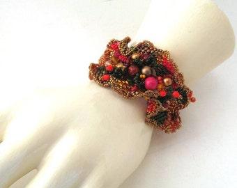 Beaded bracelet, Seed bead jewelry, Freeform peyote bracelet, Gifts for women