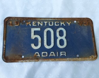 Rusty License Plate Blue Kentucky Plate Garage Decor