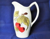Vintage porcelain hand painted jug or pitcher with red cherries and green leaves, Made in Japan, Vintage collectible, Circa 1950's
