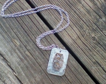 Womens Mens Steampunk Necklace with Vintage Milk Tag Token